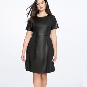 NWT ELOQUII Faux Leather And Ponte Skater Dress 16